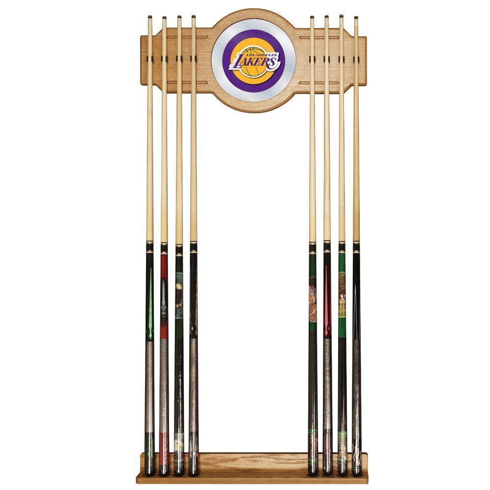 Los Angeles Lakers NBA 30 in. Wooden Billiard Cue Rack with Mirror
