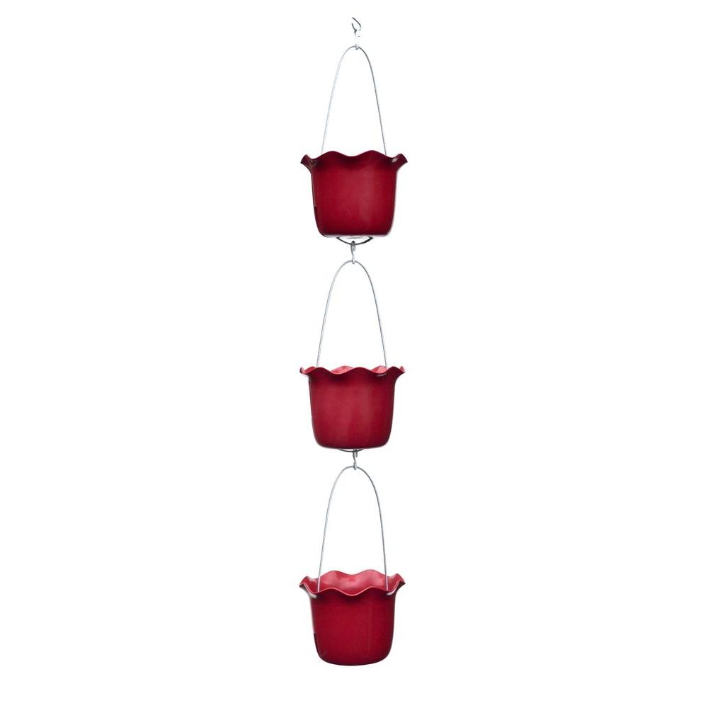 7 in. Plastic Tango Red Rain Chain-Style Vertical Planter