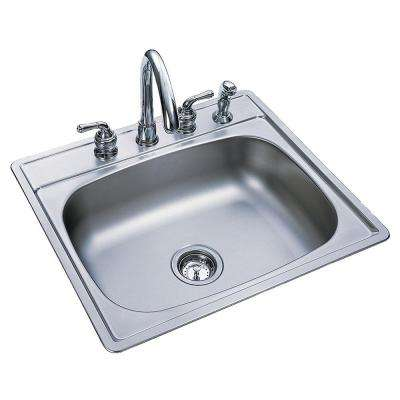 Drop-In Satin Stainless Steel 25 in. 4-Hole Single Bowl Kitchen Sink