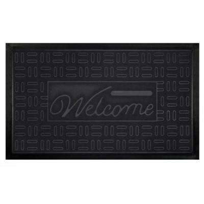 Parquet Grey 18 in. x 30 in. Rubber and Poly Door Mat