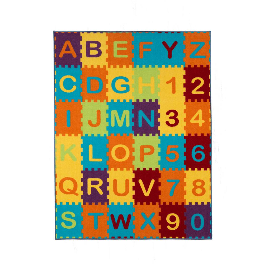 Ottomanson Children Garden S Collection Multi Color Puzzle Educational Alphabet Design 3 Ft In X 5 Non Slip Kids Area Rug Cg1156 3x5 The Home