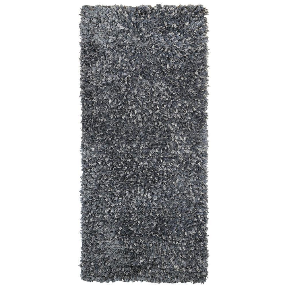 Plush Shimmer Rug: Grey Shag 2 Ft. X 5 Ft. Runner Area Rug-SS2001N