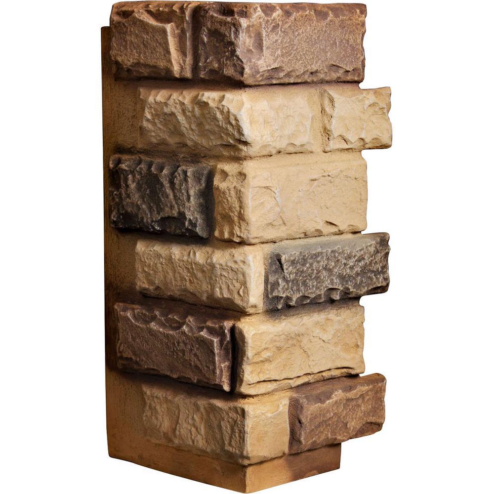 1-1/2 in. x 12-1/2 in. x 25 in. Arizona Gold Urethane Cut Coarse Random Rock Outer Corner Wall Panel