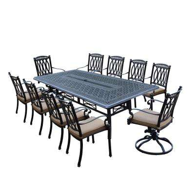 Morocco Aluminum 11-Piece Outdoor Dining Set with Sunbrella Beige Cushions