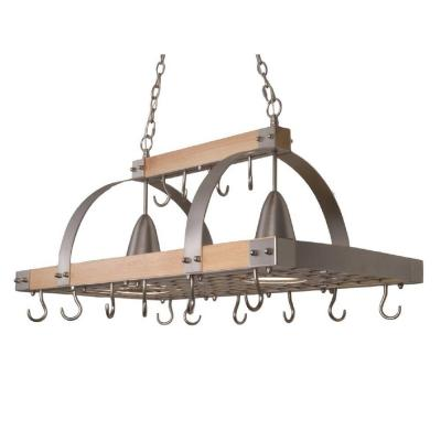2-Light Brushed Nickel Accents Kitchen Wood Pot Rack with Downlights