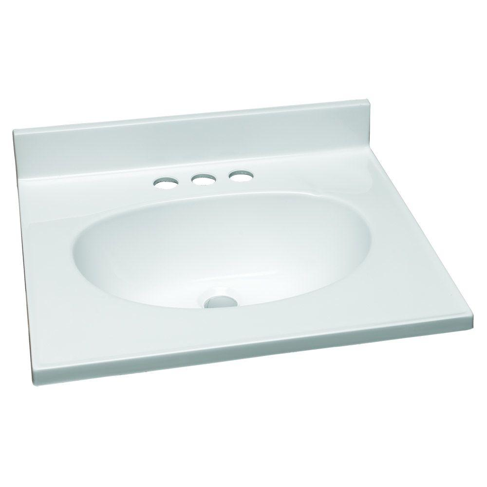 19 in. W Cultured Marble Vanity Top in White with Solid