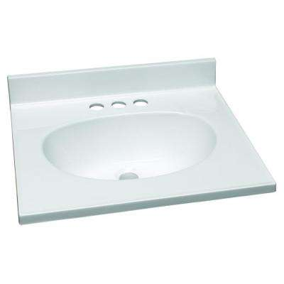19 in. W Cultured Marble Vanity Top in White with Solid White Bowl