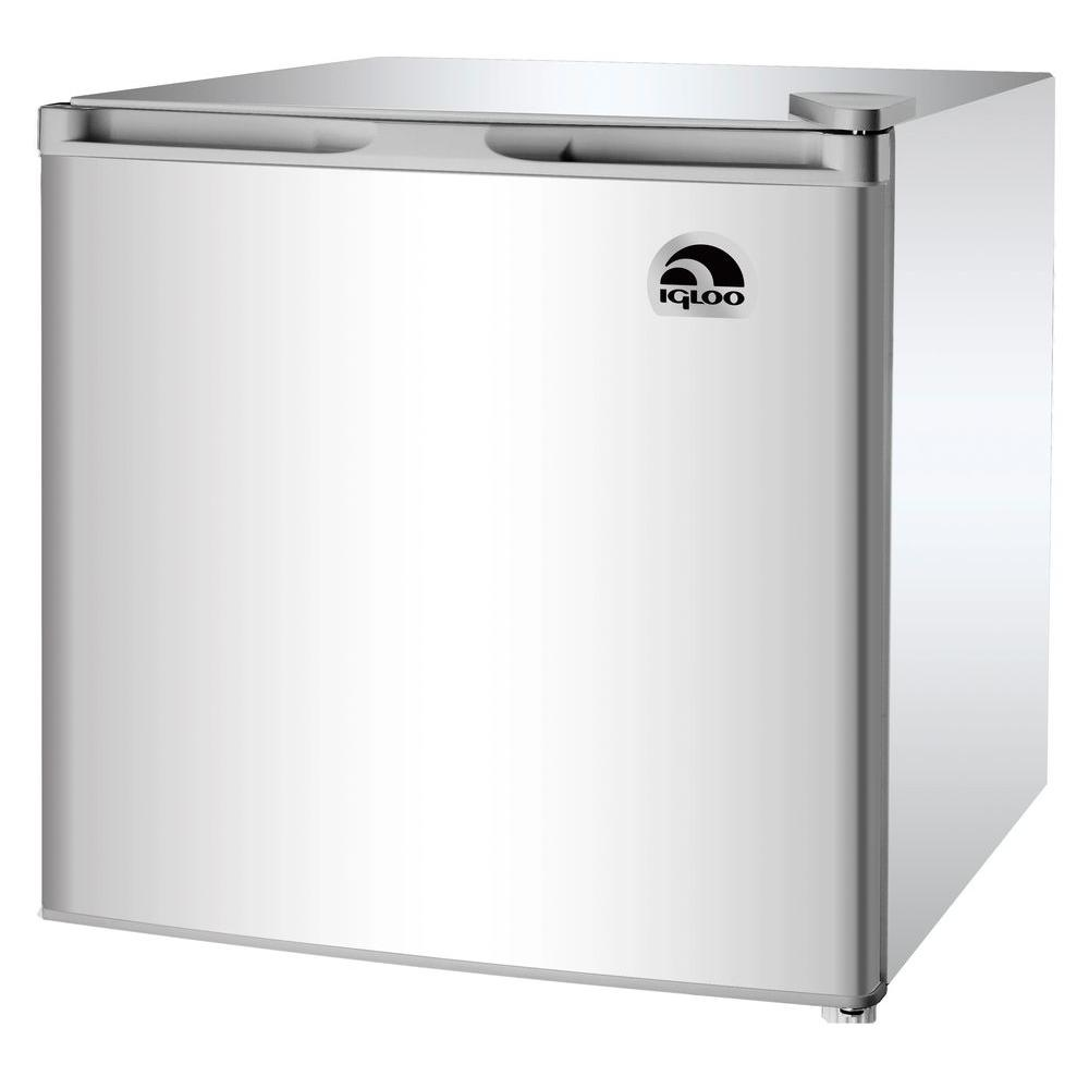Igloo 1 6 cu ft mini refrigerator in silver grey fr115i for 0 1 couch to fridge