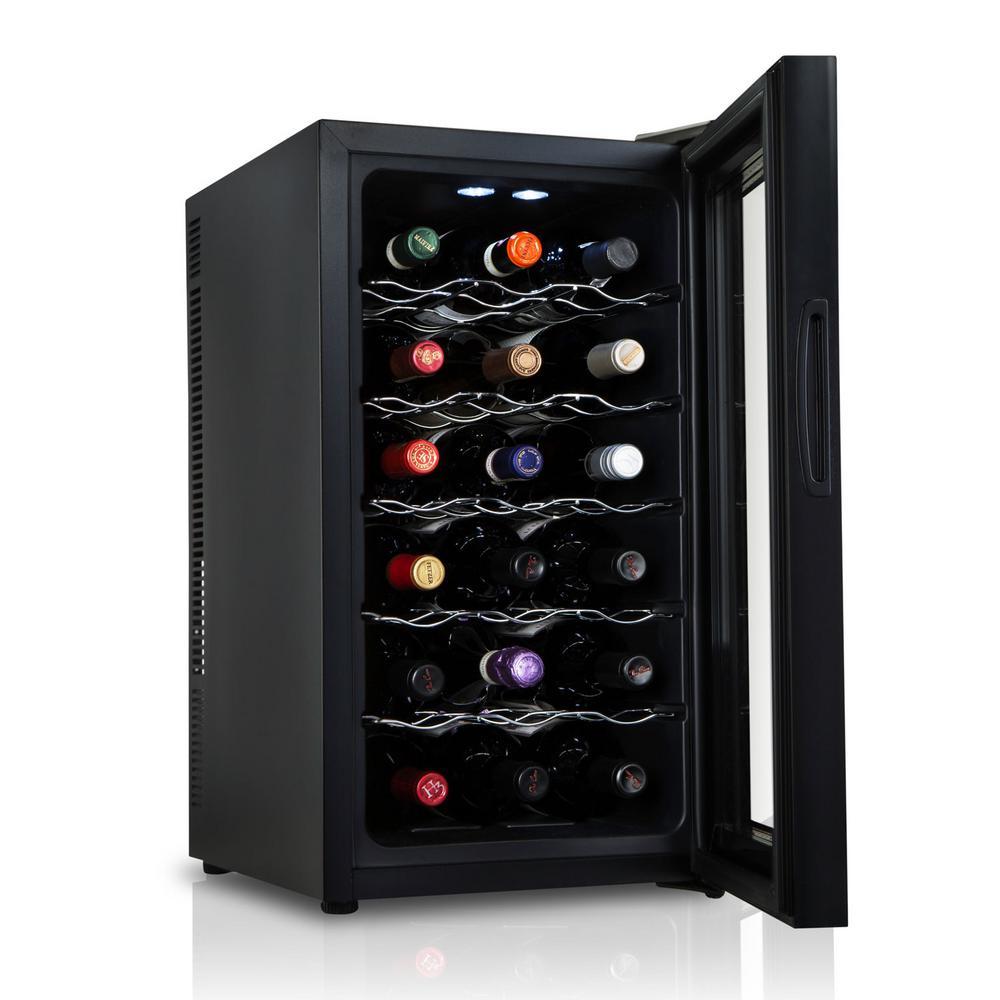 18 Bottle Thermoelectric Freestanding Wine Cooler Fridge Cellar Refrigerator with Door Lock - Black