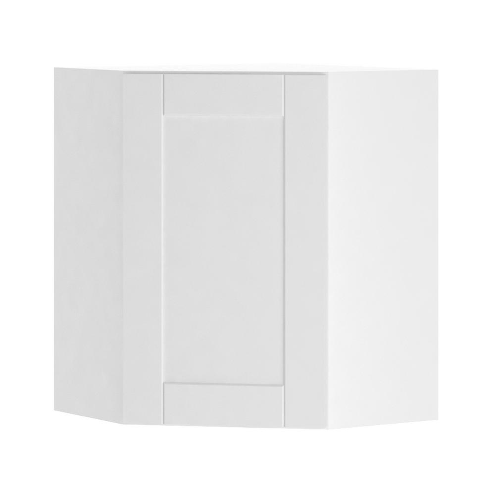 Hampton Bay Princeton Shaker Assembled 24x30x24 In Corner Wall Cabinet In Warm White Wcd242430
