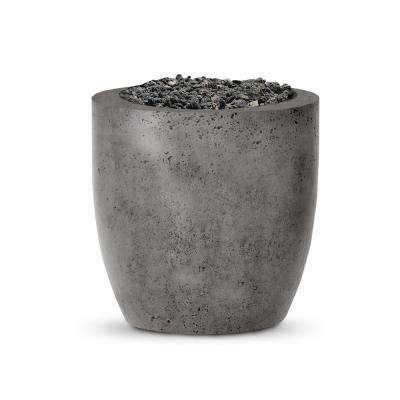 Napa 24 in. x 25 in. Round Concrete Liquid Propane Fire Pit in Pewter with 27 lbs. Bag of 0.75 in. Black Lava Rocks