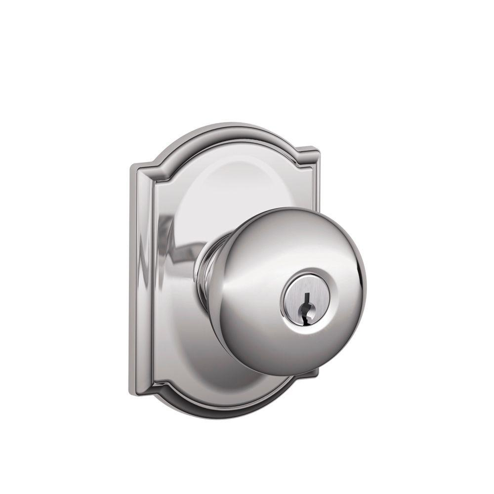 Schlage Plymouth Bright Chrome Keyed Entry Door Knob With Camelot Trim F51a Ply 625 Cam The