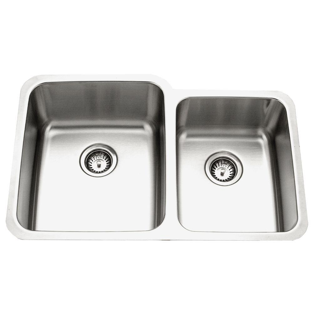 Houzer Medallion Gourmet Series Undermount Stainless Steel 32 In Double Bowl Kitchen Sink With Small
