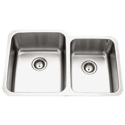 Medallion Gourmet Series Undermount Stainless Steel 32 in. 0-Hole Double Bowl Kitchen Sink with Small Right Bowl