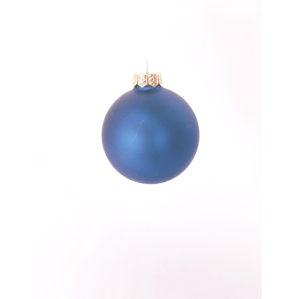 1.25 in. Midnight Blue Matte Glass Christmas Ornaments (40-Pack)