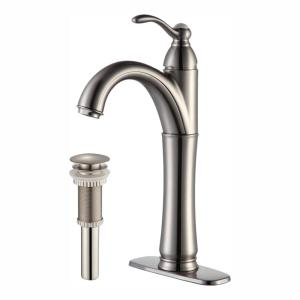 Riviera Single Hole Single-Handle Vessel Bathroom Faucet with Matching Pop Up Drain in Satin Nickel