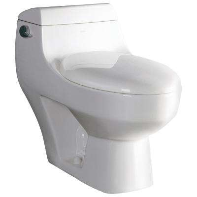 1-Piece 1.28 GPF Single Flush Elongated Toilet in White