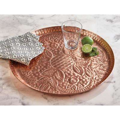 Flora Bunda Etched Copper Colored Aluminum Tray