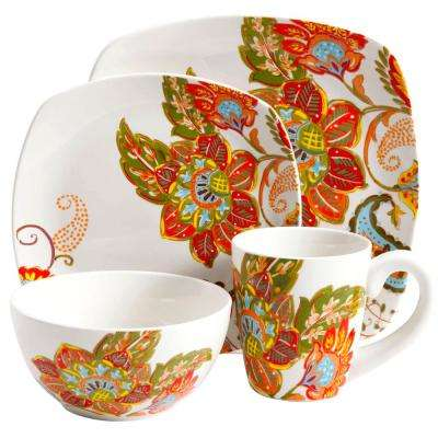16-Piece Multi Colored Floral Dinnerware Set