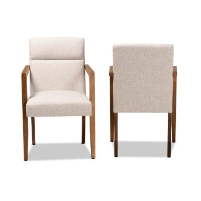 Andrea Beige and Walnut Fabric Armchair (Set of 2)