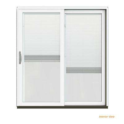 72 in. x 80 in. W-2500 Contemporary Vanilla Clad Wood Right-Hand Full Lite Sliding Patio Door w/White Paint Interior
