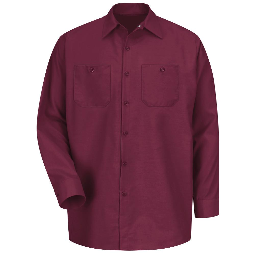 Red Kap Men s Size M Burgundy Long-Sleeve Work Shirt-SP14BY RG M ... decc74fae1a