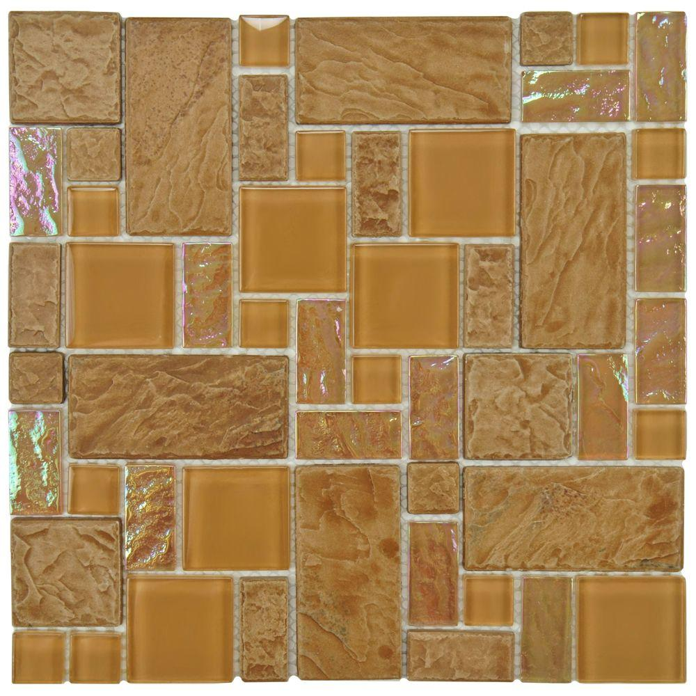 Merola Tile Garden Versailles Peony 11-3/4 in. x 11-3/4 in. x 8 mm Ceramic and Glass Mosaic Tile