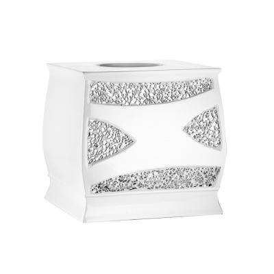 Sparkling Tissue Box in White