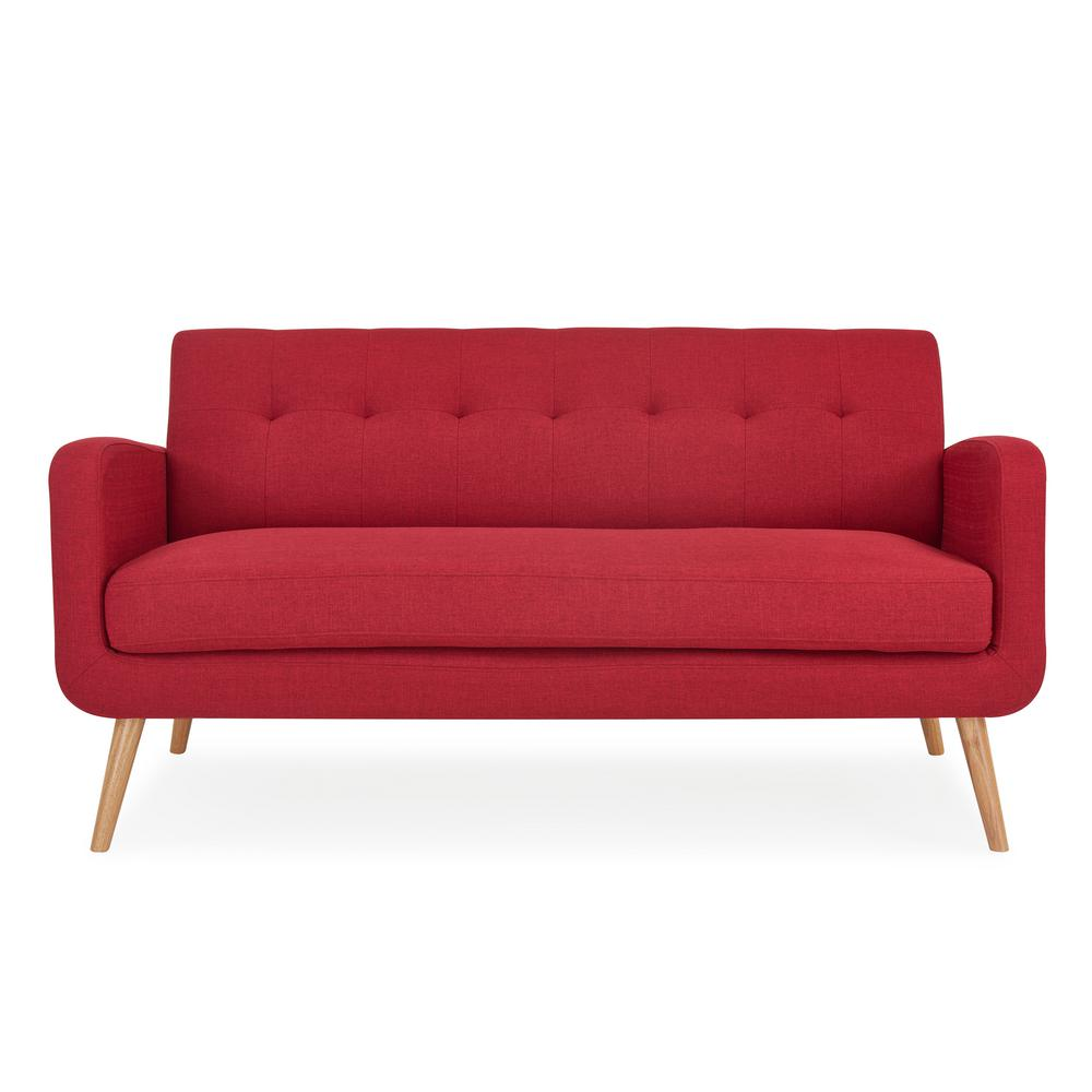 Kingston cherry red linen mid century modern sofa with natural legs