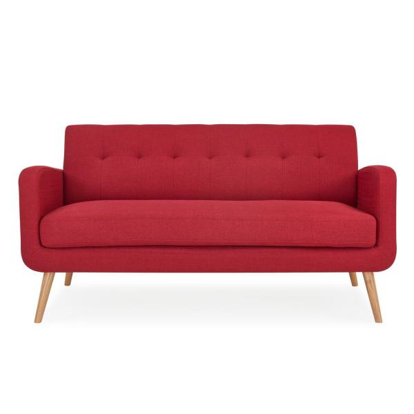 Handy Living Kingston Cherry Red Linen Mid Century Modern Sofa with