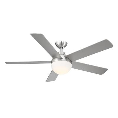 Tulum 52 in. Integrated LED Brushed Nickel Light 5 Blade Ceiling Fan with Remote Control