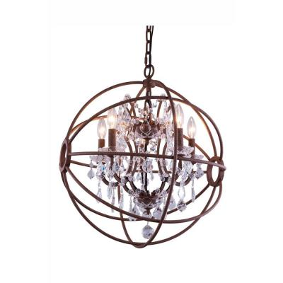Geneva 4-Light Rustic Intent Chandelier with Clear Crystal