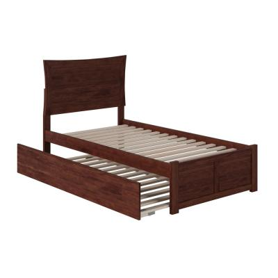 Metro Twin Extra Long Bed with Footboard and Twin Extra Long Trundle in Walnut