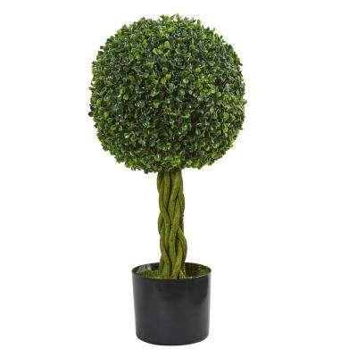 2 ft. UV Resistant Indoor/Outdoor Boxwood Ball with Woven Trunk Artificial Tree