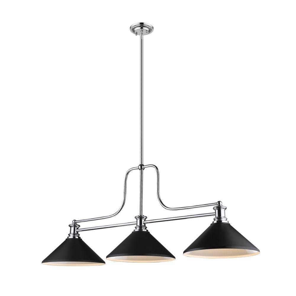 Filament Design 3 Light Chrome Billiard Light With Matte Black Steel Shade Hd Te33998 The Home Depot