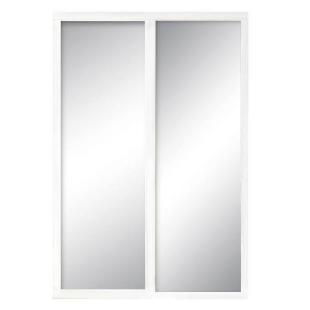 60 in. x 81 in. Serenity White Wood Frame Mirrored Interior Sliding Door