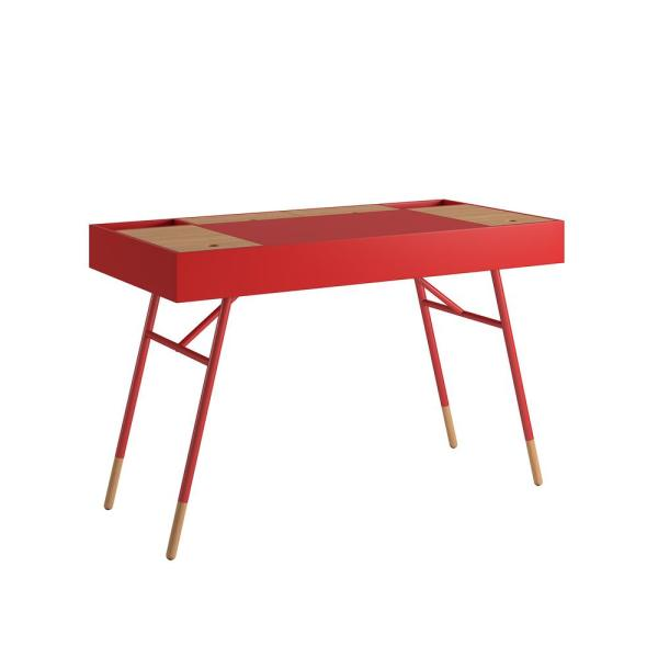 48 in. Rectangular Red Writing Desk with USB Port