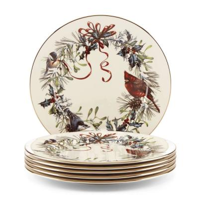 Winter Greetings 6-Piece Bone China Dinner Plates