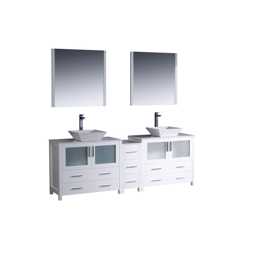 Fresca Torino 84 in. Double Vanity in White with Glass Stone Vanity Top in White with White Basins and Mirrors