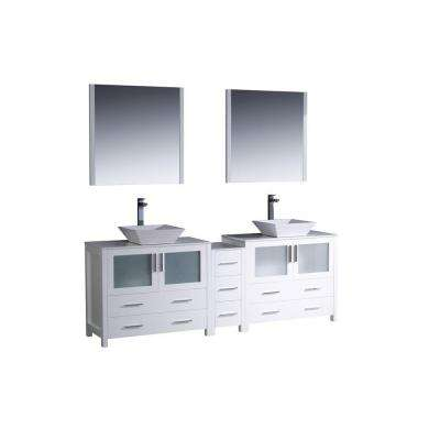 Torino 84 in. Double Vanity in White with Glass Stone Vanity Top in White with White Basins and Mirrors