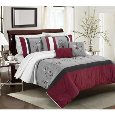 MHF Home Tori Embroidered 10-Piece Red Queen Comforter Set