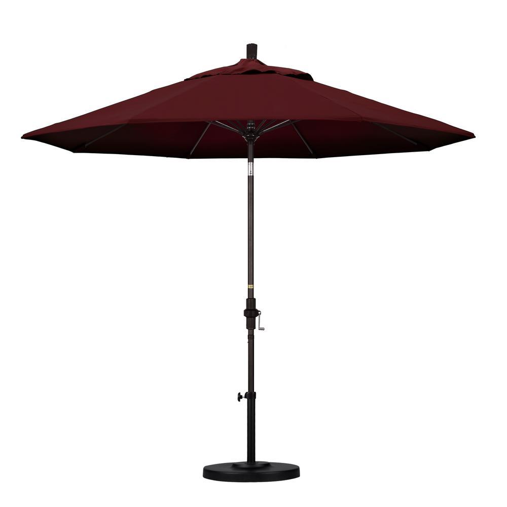 California Umbrella 9 ft. Fiberglass Collar Tilt Patio Umbrella in Burgundy Pacifica