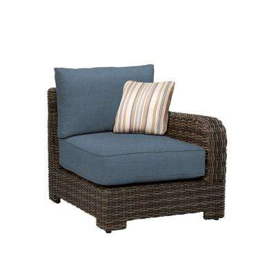 Northshore Right Arm Patio Sectional Chair with Denim Cushion and Terrace Lane Throw Pillow -- CUSTOM