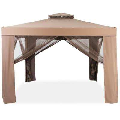 10 in. x 10 in. Coffee Canopy Gazebo Outdoor Patio Party/Event Tent with Mosquito