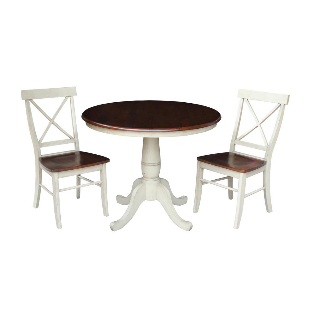 Dining Essentials 3-Piece Almond and Espresso Solid Wood Dining Set