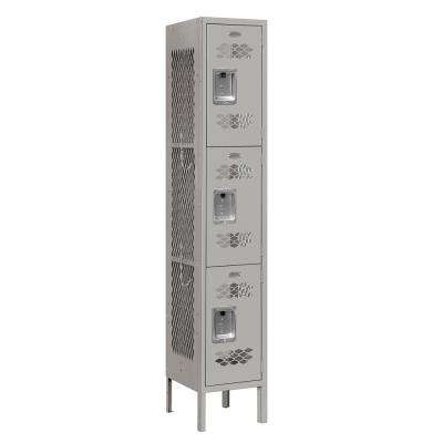 73000 Series 3-Tier 12 in. W x 66 in. H x 12 in. D Vented Metal Locker Ready to Assemble in Gray