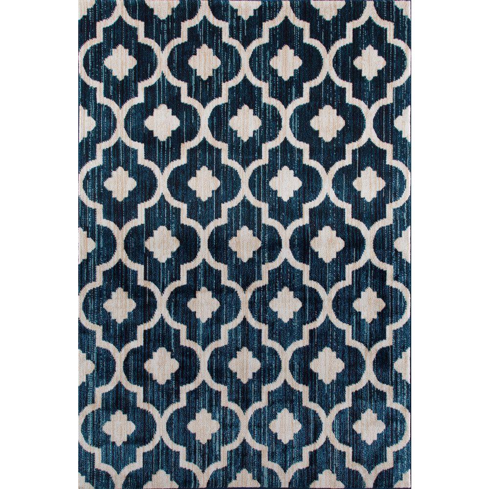 Modern Moraccan Trellis Blue 3 ft. 3 in. x 5 ft. Soft Area Rug