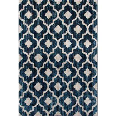 Modern Moraccan Trellis Blue 5 ft. 3 in. x 7 ft. 3 in. Soft Area Rug