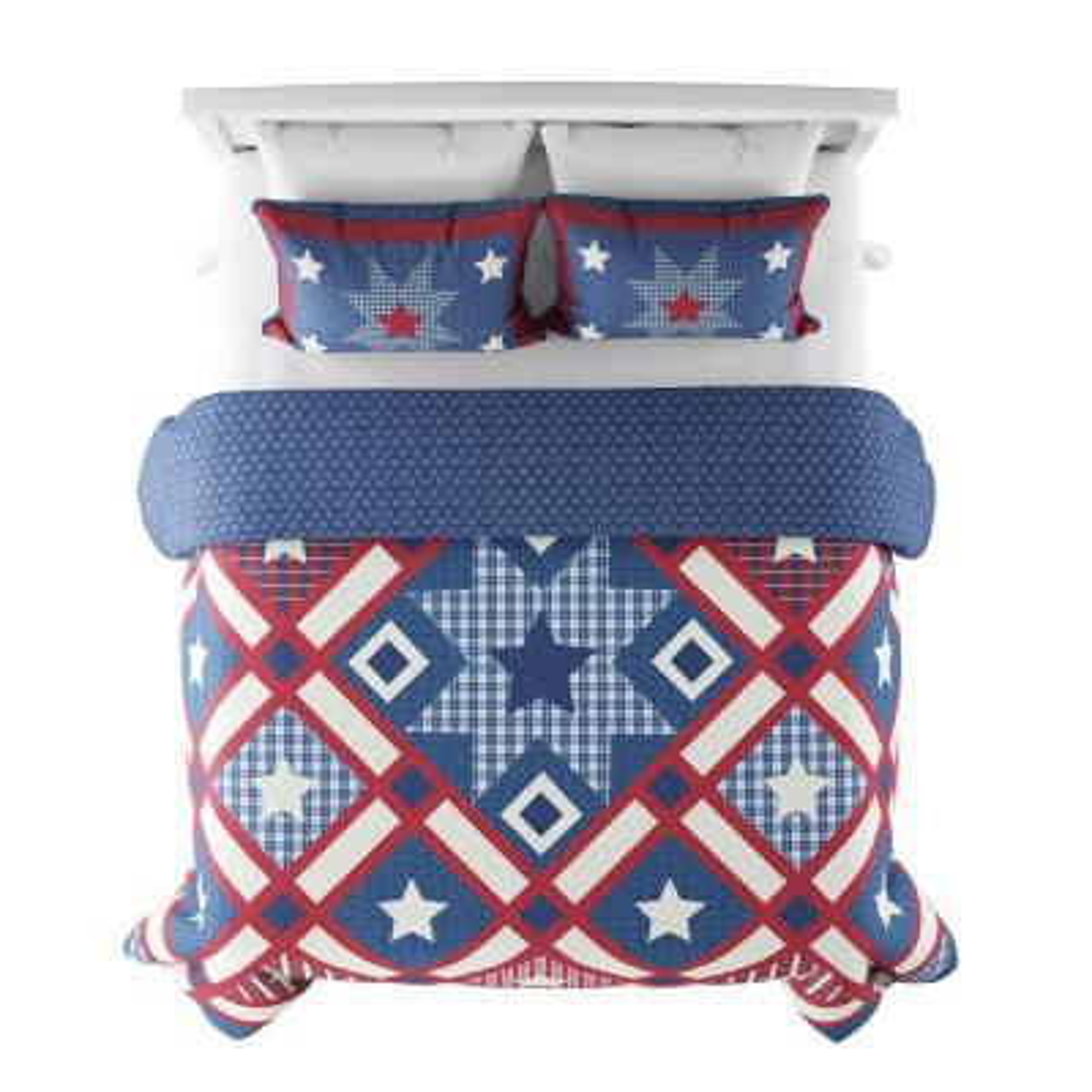 3-Piece Homestead Americana King Hypoallergenic Down Alternative Quilt Bedspread Set