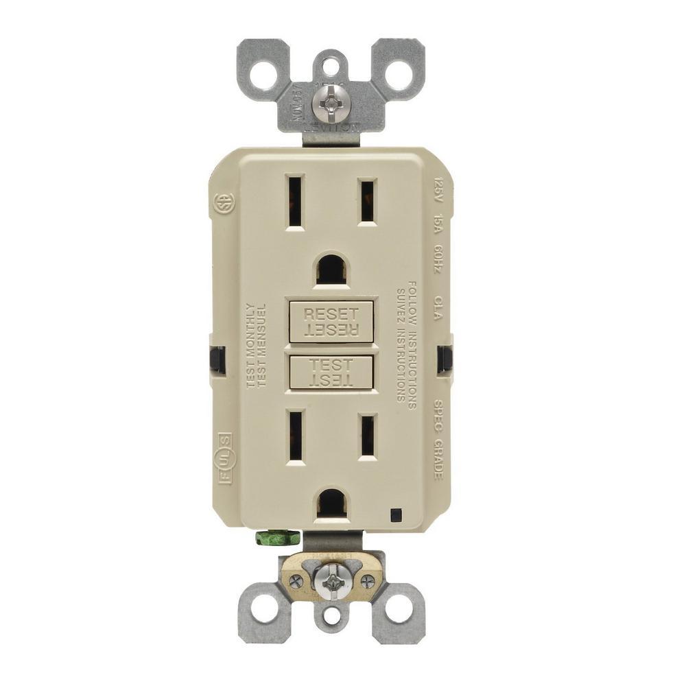 15 Amp Self-test SmartlockPro Slim Non-Tamper Resistant GFCI Outlet, Ivory
